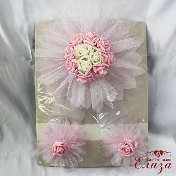 Сватбена украса за кола от изкуствени цветя в розово E12